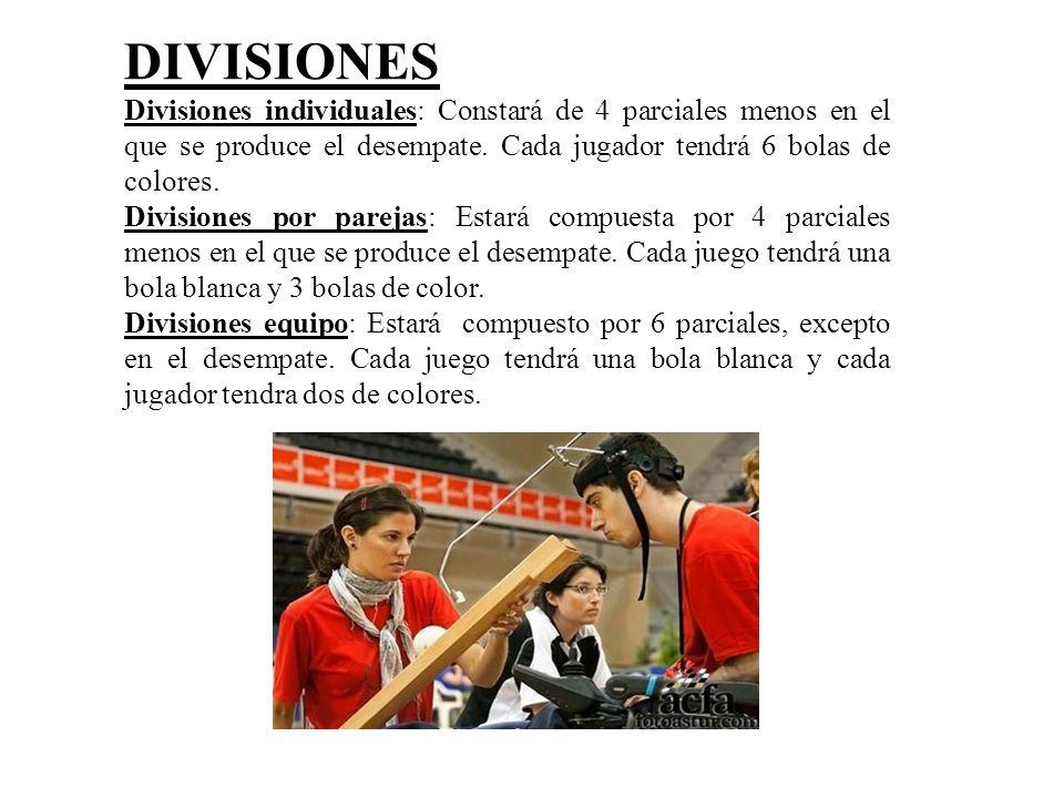 DIVISIONES Divisiones individuales: Constará de 4 parciales menos en el que se produce el desempate. Cada jugador tendrá 6 bolas de colores. Divisione