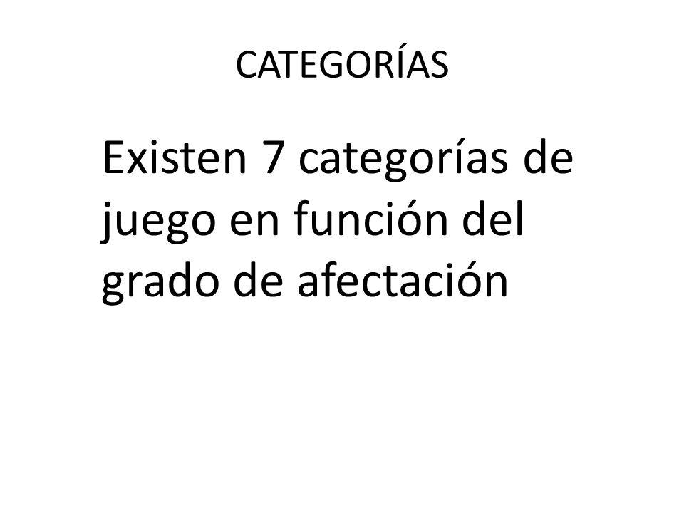 CATEGORÍAS Existen 7 categorías de juego en función del grado de afectación