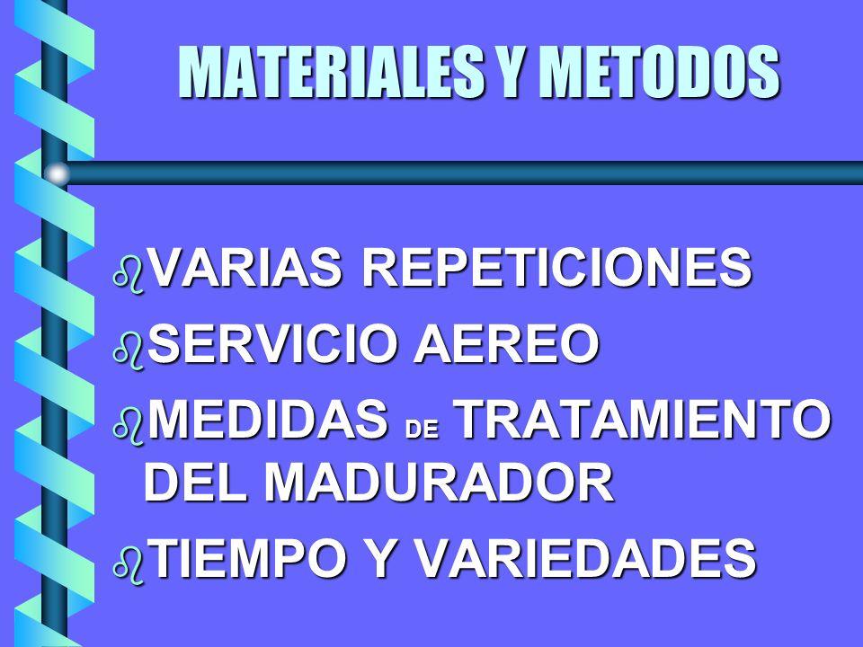 MATERIALES Y METODOS b VARIAS REPETICIONES b SERVICIO AEREO b MEDIDAS DE TRATAMIENTO DEL MADURADOR TIEMPO Y VARIEDADES TIEMPO Y VARIEDADES
