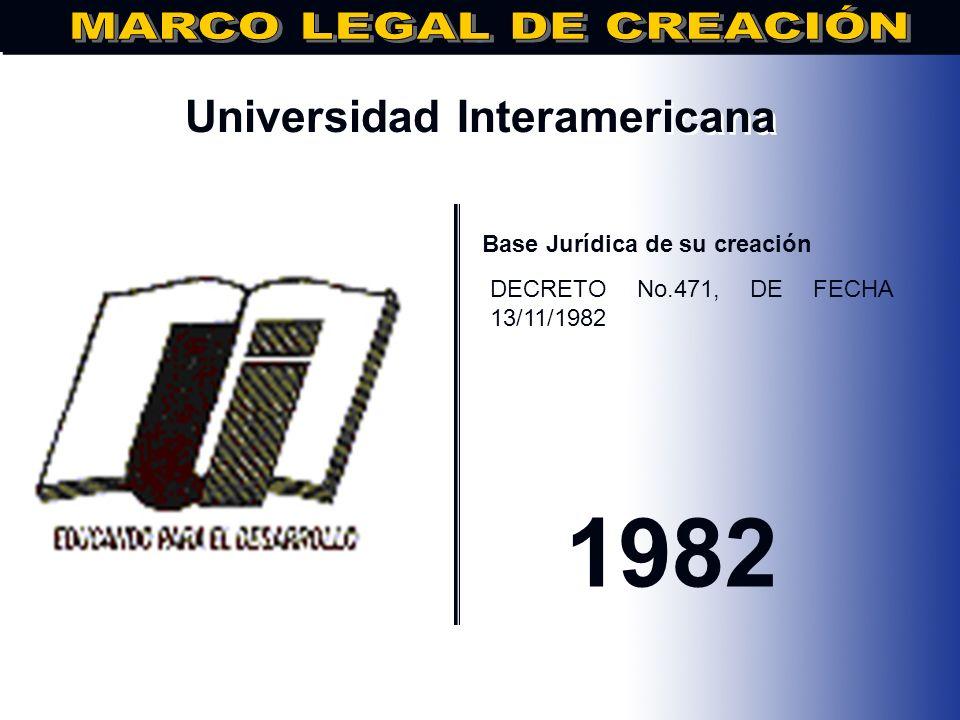 Universidad Adventista Dominicana.. Base Jurídica de su creación DECRETO No.3482, de fecha 08/11/82 1982