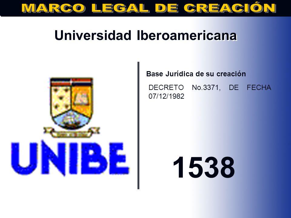 Universidad Interamericana.. Base Jurídica de su creación DECRETO No.471, DE FECHA 13/11/1982 1982