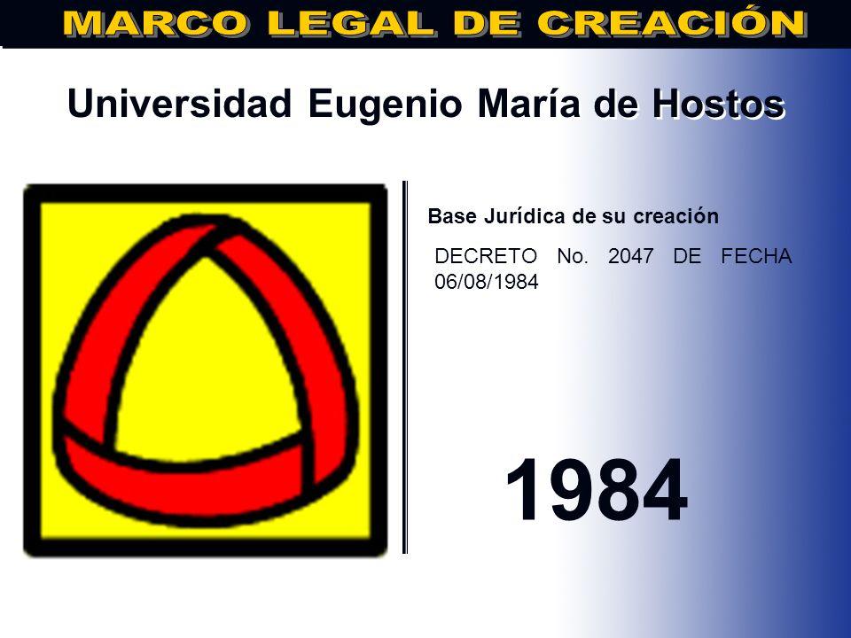 Universidad Católica Santo Domingo.. Base Jurídica de su creación DECRETO No.: 2048, Fecha: 08/06/1984 1984