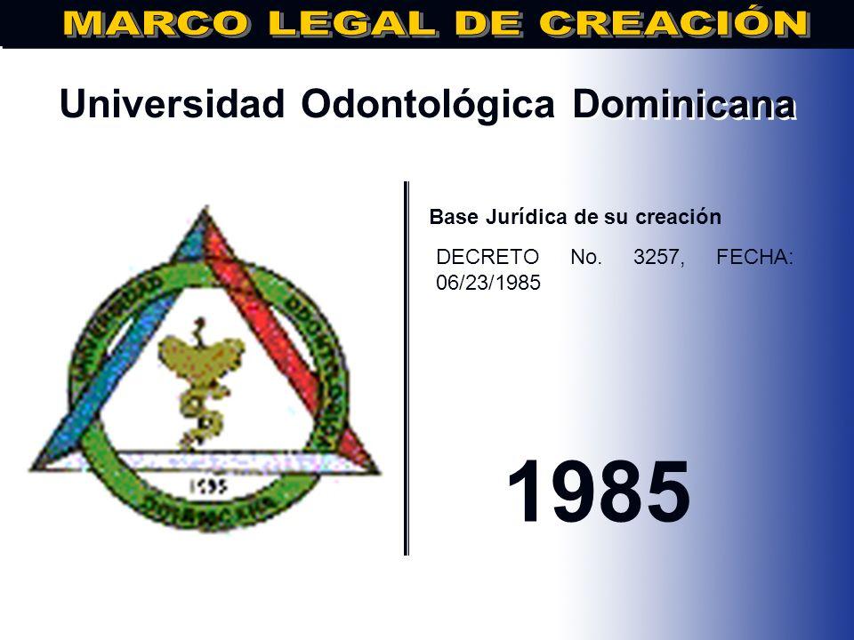 Universidad Dominicana de Estudios Profesionales.. Base Jurídica de su creación DECRETO 2711, DE FECHA 29/01/85 1985