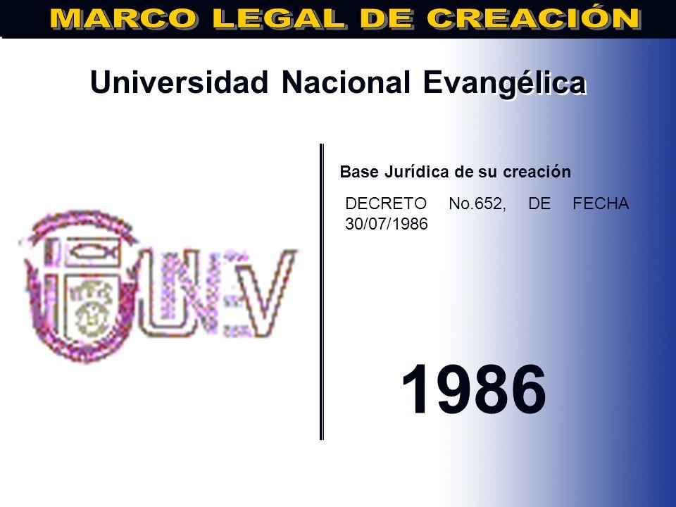 Instituto Superior de Agricultura.. Base Jurídica de su creación DECRETO NO. 651, FECHA: 30/06/1986 1986