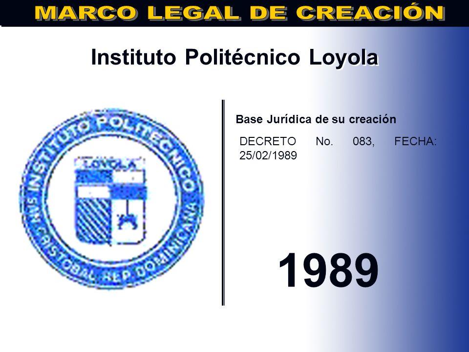 Instituto Dominicana de Tecnología.. Base Jurídica de su creación DECRETO No.37, DE FECHA 25/02/1989 1989