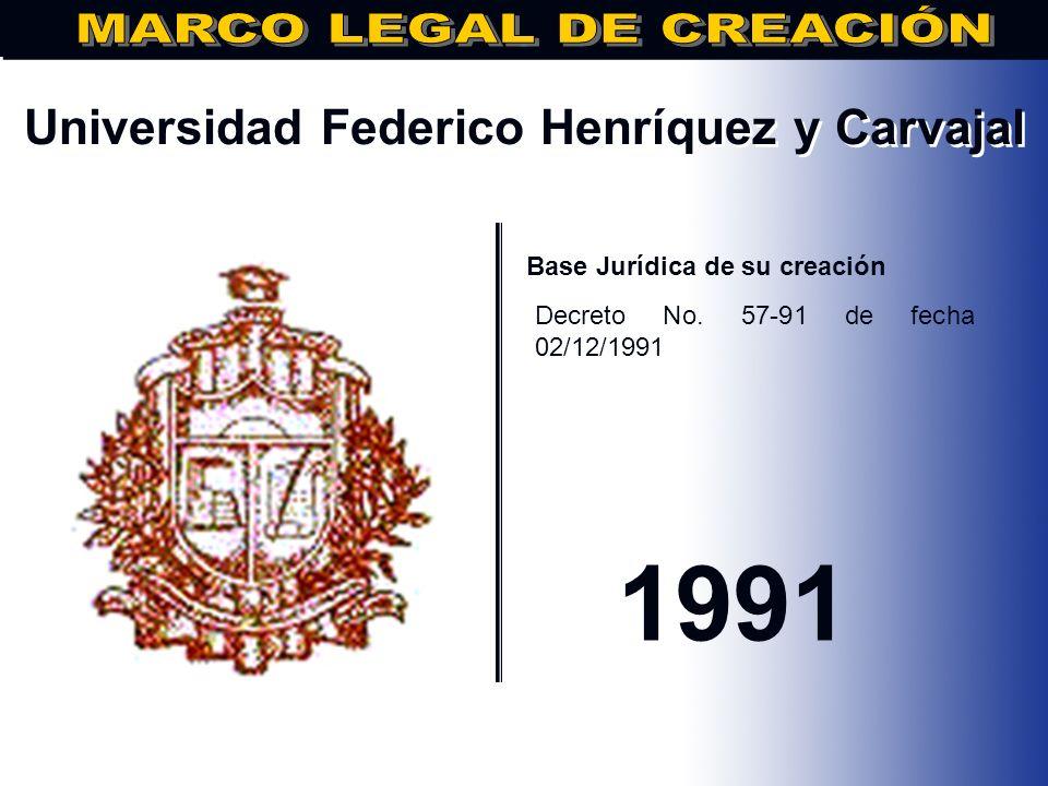 Universidad de la Tercera Edad.. Base Jurídica de su creación Decreto No. 56 de fecha 26/02/1991 1991