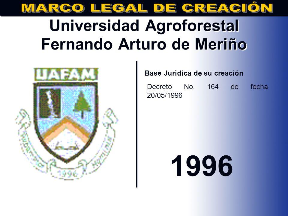 Universidad Experimental Félix Adam.. Base Jurídica de su creación Decreto No. 147 de fecha 02/05/1996 1996