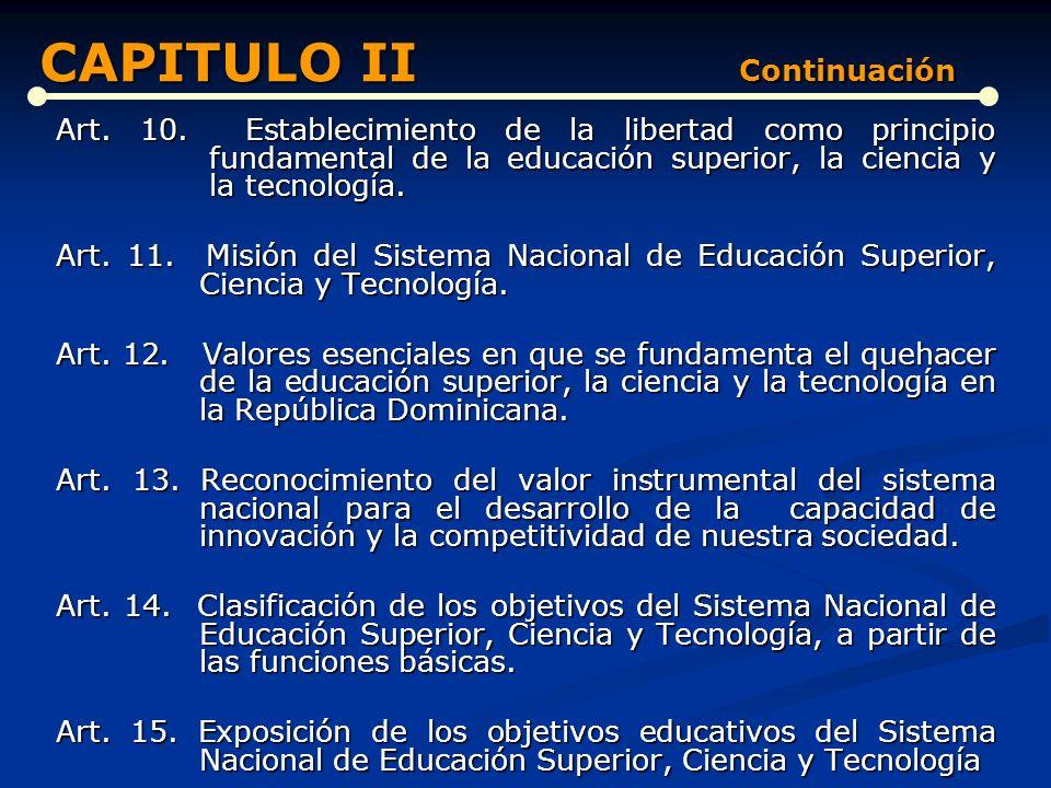 DE LA EDUCACIÓN SUPERIOR, LA CIENCIA Y LA TECNOLOGÍA (Artículos del 4 al 20) Art. 4. Qué es la Educación Superior. Art. 5. Importancia de la Educación