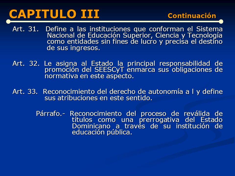 Art. 26. Clasificación de las instituciones que integran el Sistema Nacional de Educación Superior, Ciencia y Tecnología. Art. 27. Propicia la creació