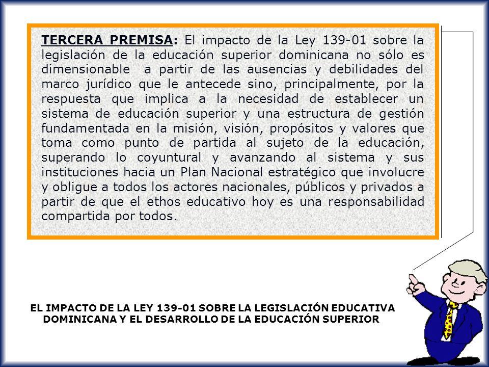 IMPACTO SOBRE LA EDUCACION SUPERIOR LA CIENCIA Y LA TECNOLOGIA A PARTIR DE LA LEY 139-01