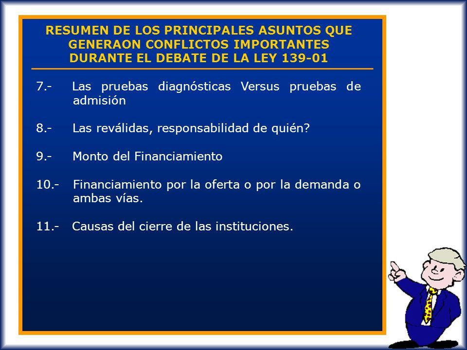 RESUMEN DE LOS PRINCIPALES ASUNTOS QUE GENERAON CONFLICTOS IMPORTANTES DURANTE EL DEBATE DE LA LEY 139-01 1.- La creación de la Secretaría de Educació