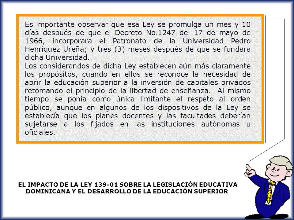EL IMPACTO DE LA LEY 139-01 SOBRE LA LEGISLACIÓN EDUCATIVA DOMINICANA Y EL DESARROLLO DE LA EDUCACIÓN SUPERIOR EL IMPACTO DE LA LEY 139-01 SOBRE LA LE