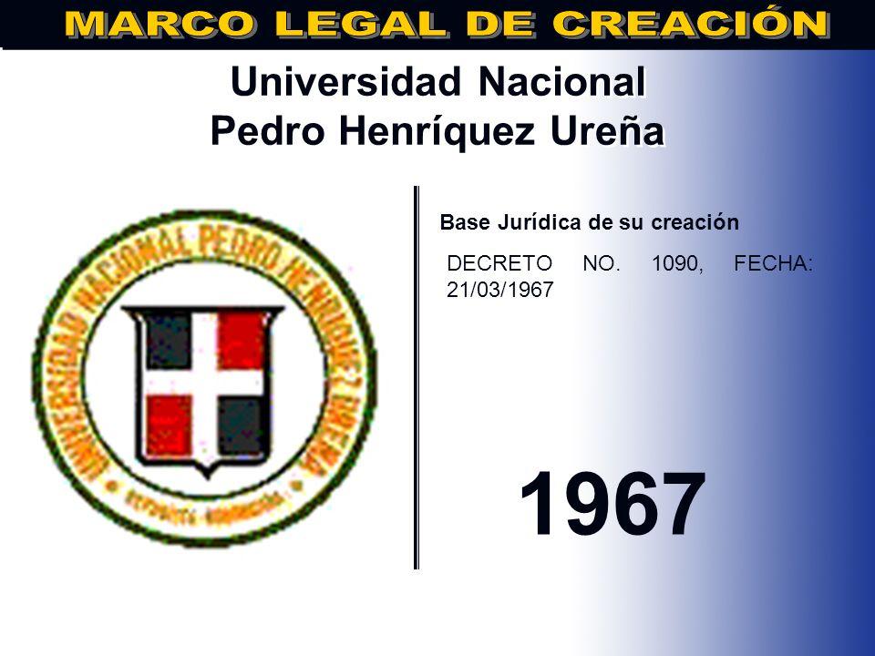 Pontificia Universidad Católica Madre y Maestra.. Base Jurídica de su creación DECRETO LEY NO. 615O, FECHA: 31/12/1962 1962