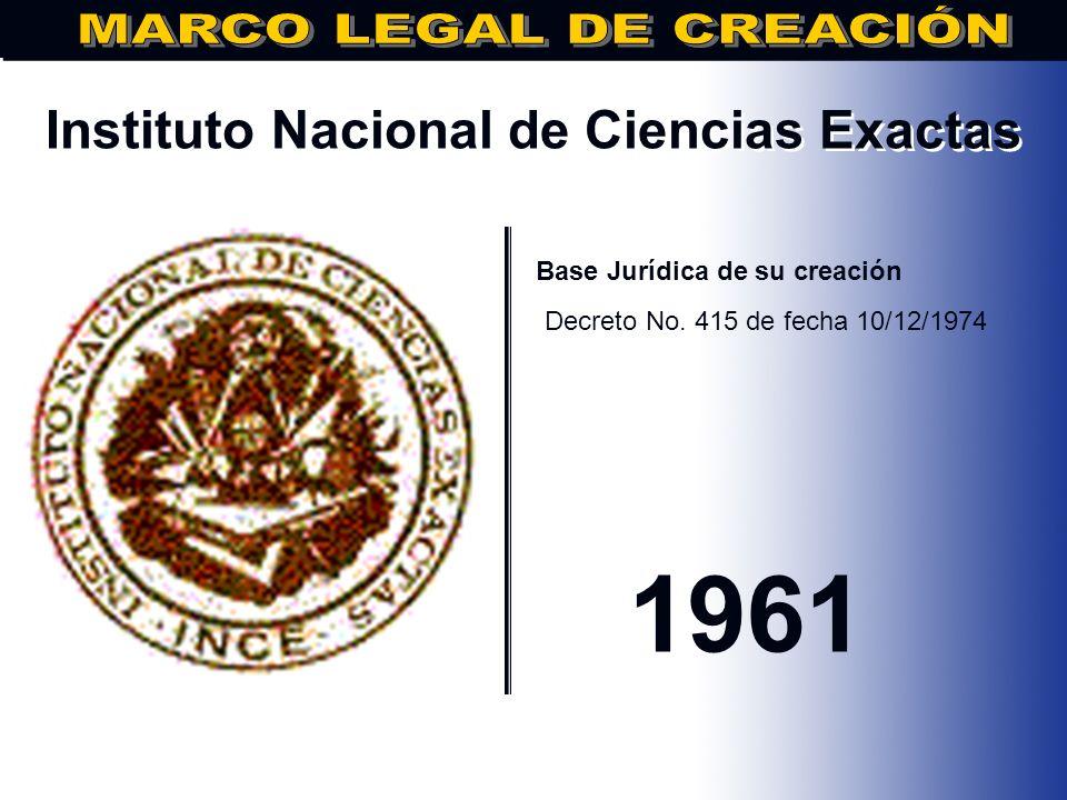 Instituto Tecnológico de Santo Domingo.. Base Jurídica de su creación Decreto No. 3673, Fecha: 07/04/1973 1973