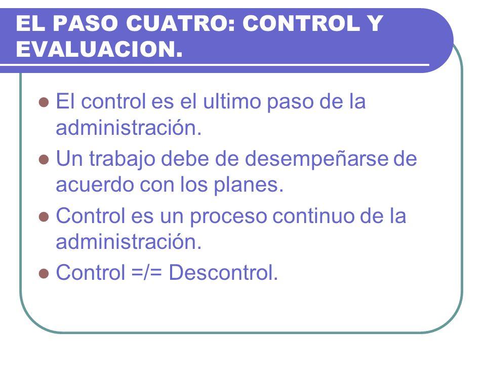 EL PASO CUATRO: CONTROL Y EVALUACION. El control es el ultimo paso de la administración. Un trabajo debe de desempeñarse de acuerdo con los planes. Co