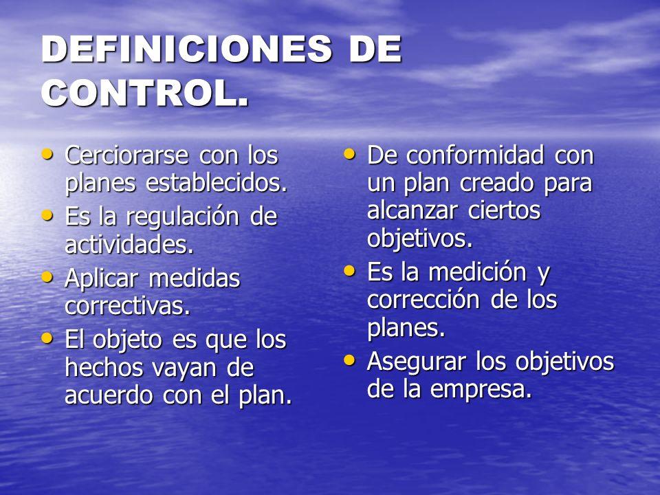 DEFINICIONES DE CONTROL. Cerciorarse con los planes establecidos. Cerciorarse con los planes establecidos. Es la regulación de actividades. Es la regu