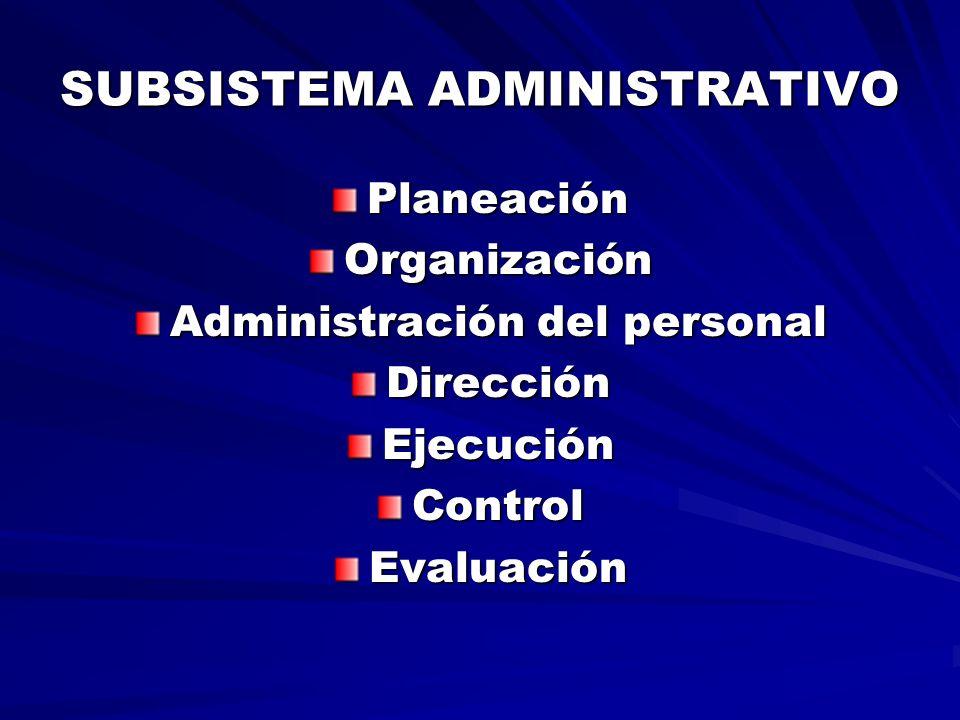SUBSISTEMA ADMINISTRATIVO PlaneaciónOrganización Administración del personal DirecciónEjecuciónControlEvaluación