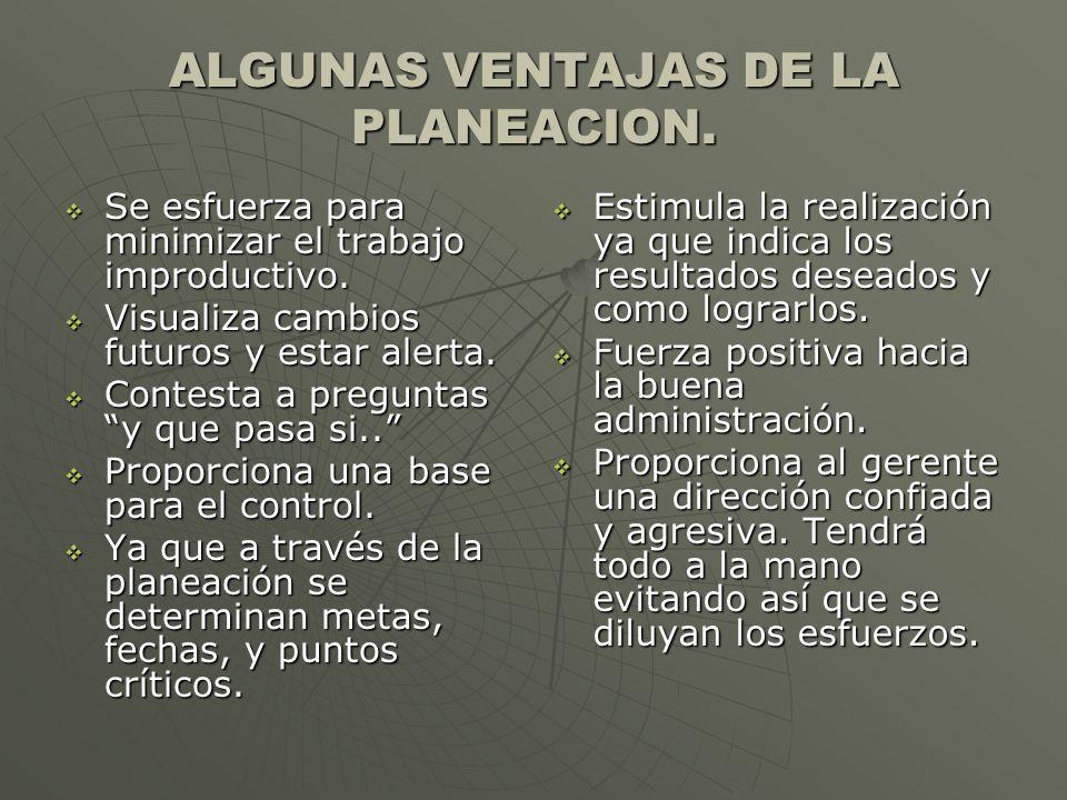 ALGUNAS VENTAJAS DE LA PLANEACION. Se esfuerza para minimizar el trabajo improductivo. Se esfuerza para minimizar el trabajo improductivo. Visualiza c