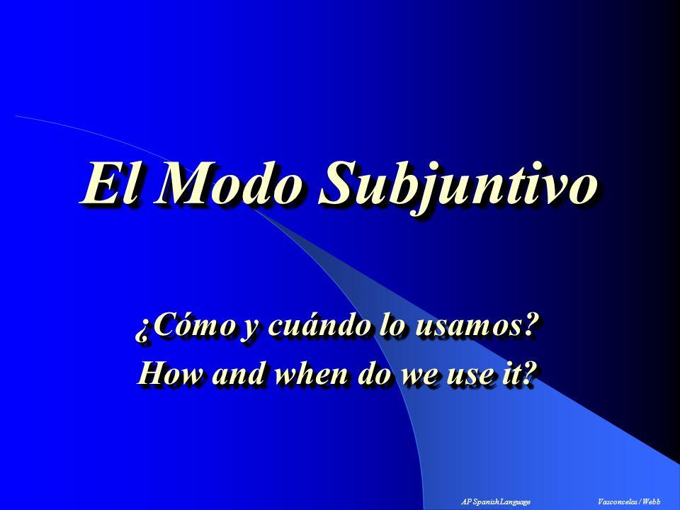 El Modo Subjuntivo ¿Cómo y cuándo lo usamos.How and when do we use it.