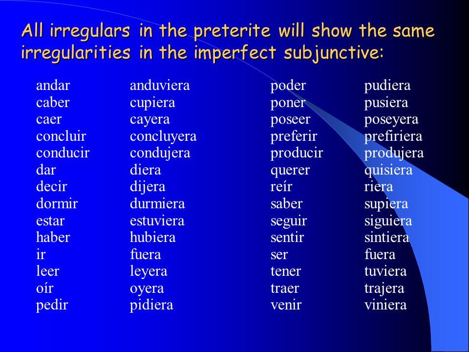 ¿Recuerdas cómo se forma el imperfecto del subjuntivo? ¿ Recuerdas cómo se forma el imperfecto del subjuntivo? Without exception: the imperfect subjun