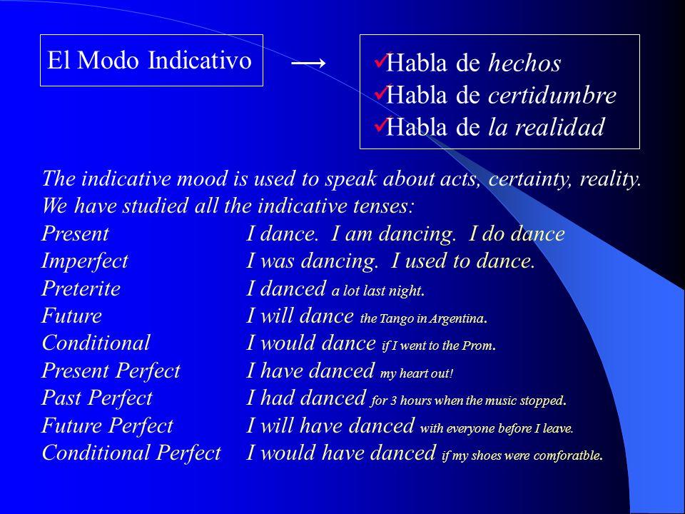 El Modo Indicativo Habla de hechos Habla de certidumbre Habla de la realidad The indicative mood is used to speak about acts, certainty, reality.