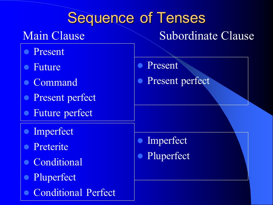 Sequence of tenses Follow the table on the next slide as a general rule to know which tense to use in a sentence. Some exceptions or broader sequences
