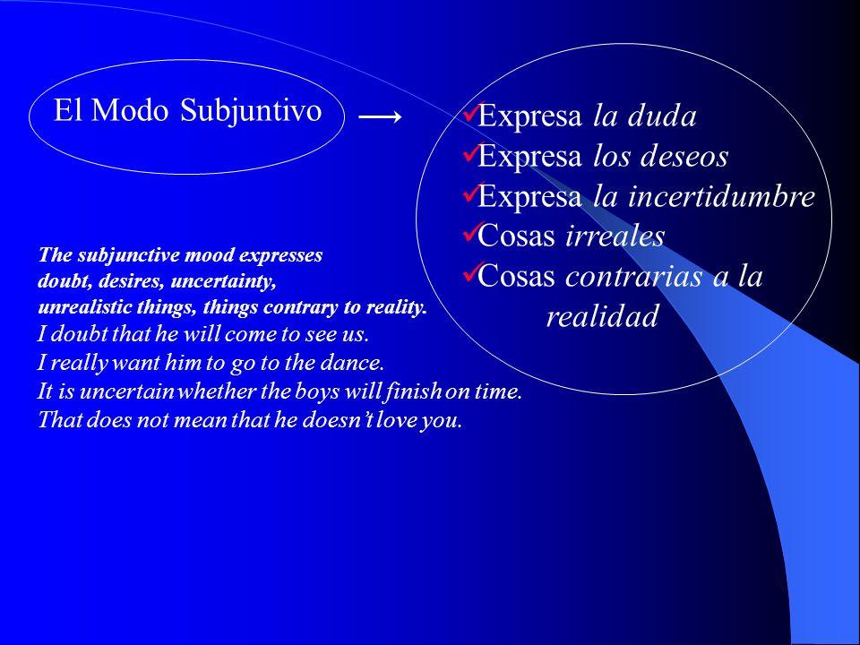 El Modo Subjuntivo Expresa la duda Expresa los deseos Expresa la incertidumbre Cosas irreales Cosas contrarias a la realidad The subjunctive mood expresses doubt, desires, uncertainty, unrealistic things, things contrary to reality.