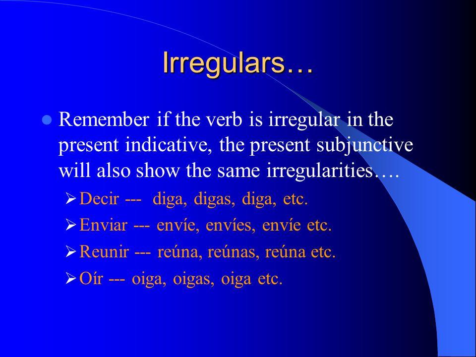 ¿ Recuerdas cómo se forma el presente del subjuntivo? 1.YO form of the present tense verb 2.Drop the o 3.Add opposite endings 4.-AR:-e-emos -es-éis -e