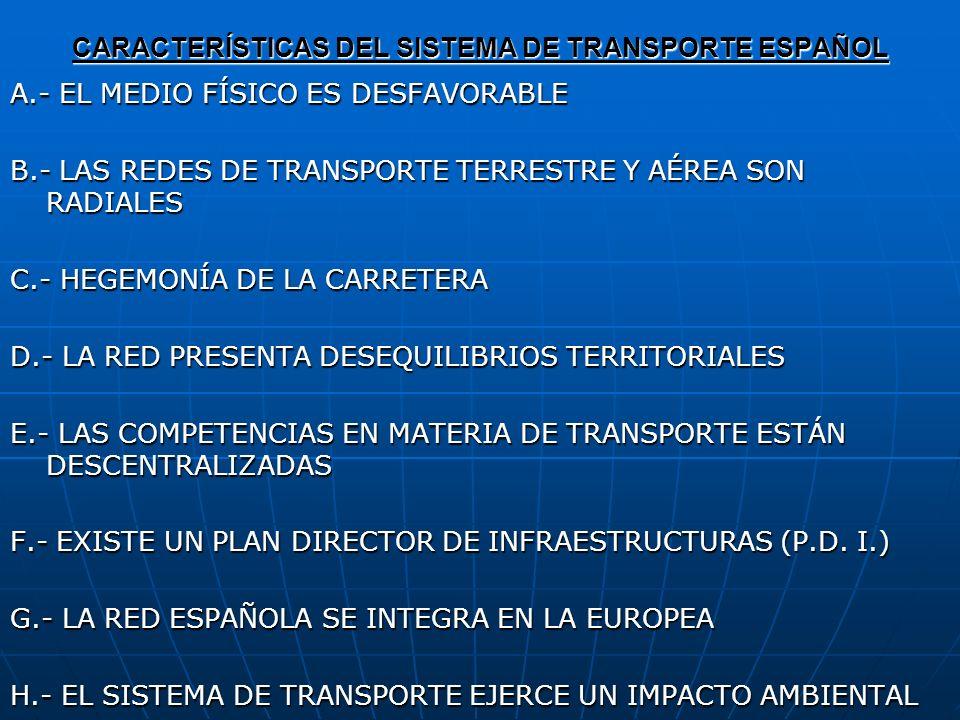 CARACTERÍSTICAS DEL SISTEMA DE TRANSPORTE ESPAÑOL A.- EL MEDIO FÍSICO ES DESFAVORABLE B.- LAS REDES DE TRANSPORTE TERRESTRE Y AÉREA SON RADIALES C.- H