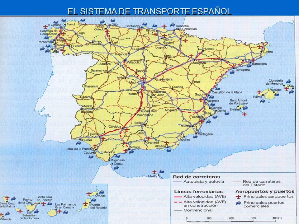 LAS REDES DE TRANSPORTE TERRESTRES Y AÉREAS SON RADIALES Las redes terrestres (carretera y ferrocarril), son radiales, es decir, tienen su centro en Madrid.