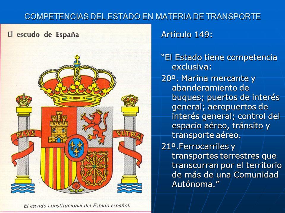 COMPETENCIAS DEL ESTADO EN MATERIA DE TRANSPORTE Artículo 149: El Estado tiene competencia exclusiva: 20º. Marina mercante y abanderamiento de buques;