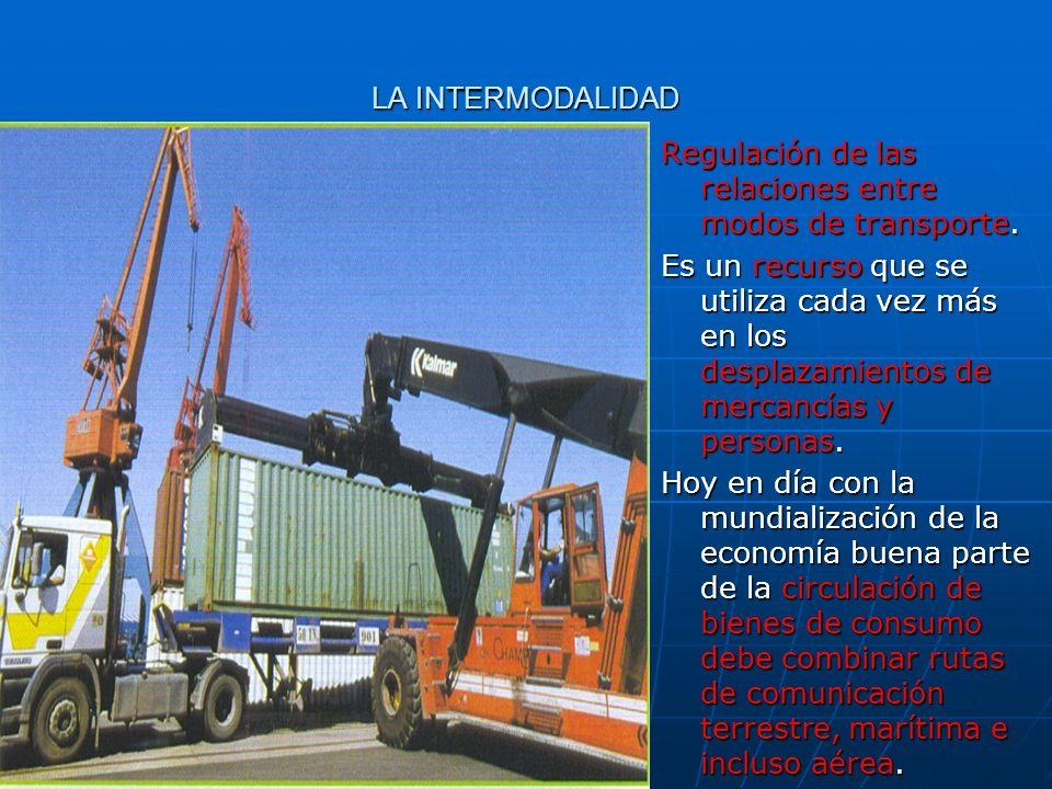 LA INTERMODALIDAD Regulación de las relaciones entre modos de transporte. Es un recurso que se utiliza cada vez más en los desplazamientos de mercancí