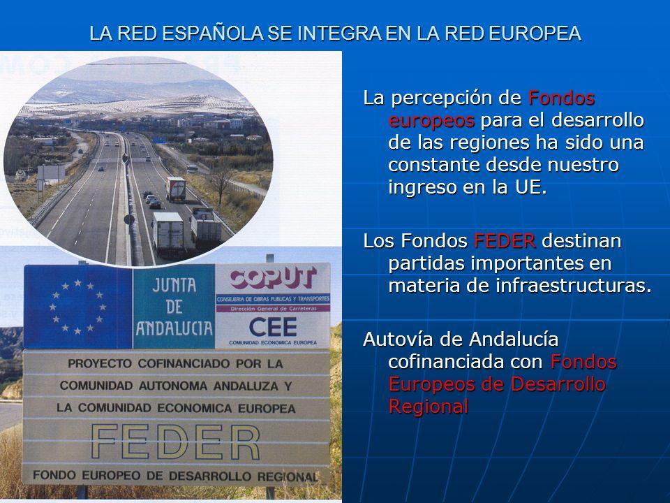 LA RED ESPAÑOLA SE INTEGRA EN LA RED EUROPEA La percepción de Fondos europeos para el desarrollo de las regiones ha sido una constante desde nuestro i