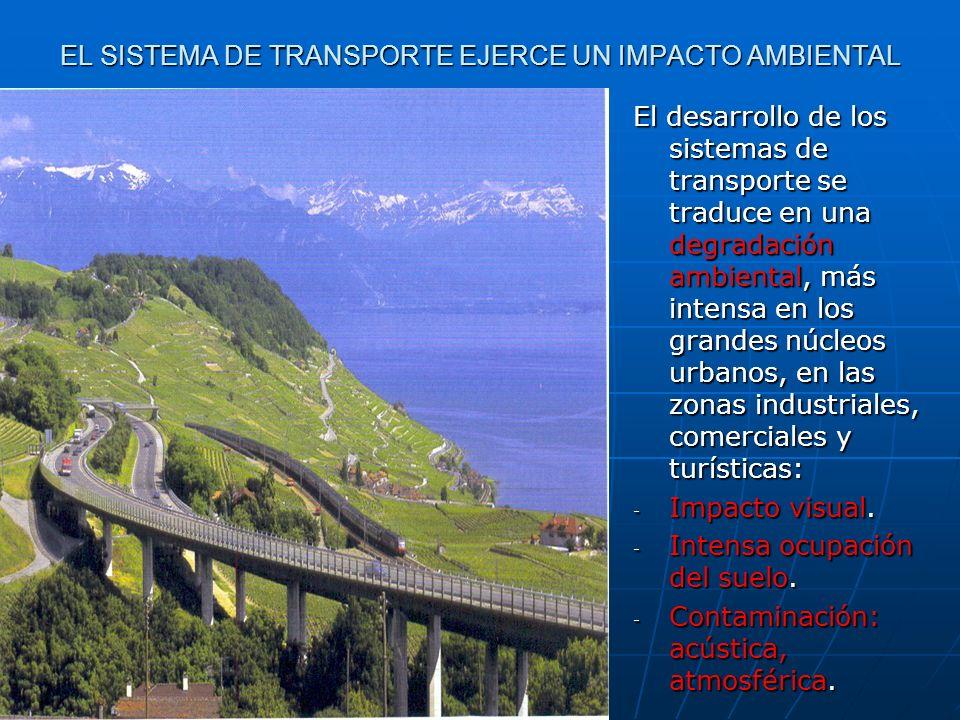 EL SISTEMA DE TRANSPORTE EJERCE UN IMPACTO AMBIENTAL El desarrollo de los sistemas de transporte se traduce en una degradación ambiental, más intensa
