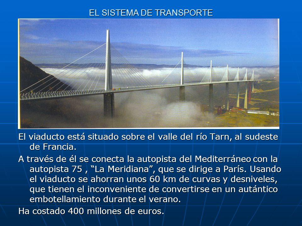 EL SISTEMA DE TRANSPORTE El viaducto está situado sobre el valle del río Tarn, al sudeste de Francia. A través de él se conecta la autopista del Medit