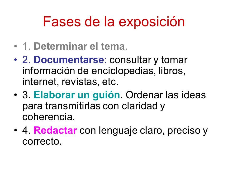 Fases de la exposición 1. Determinar el tema. 2. Documentarse: consultar y tomar información de enciclopedias, libros, internet, revistas, etc. 3. Ela