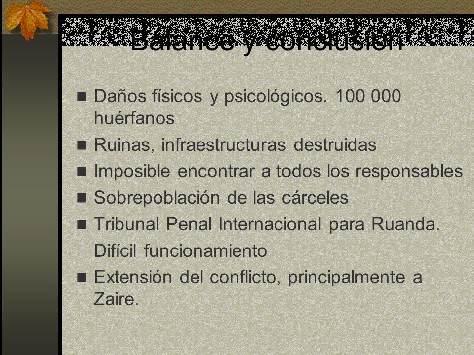 Balance y conclusión Daños físicos y psicológicos. 100 000 huérfanos Ruinas, infraestructuras destruidas Imposible encontrar a todos los responsables
