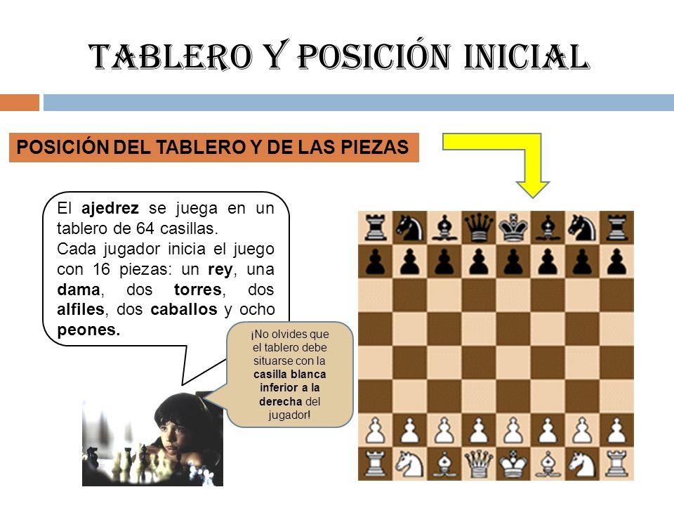 Tablero y posición inicial POSICIÓN DEL TABLERO Y DE LAS PIEZAS El ajedrez se juega en un tablero de 64 casillas. Cada jugador inicia el juego con 16