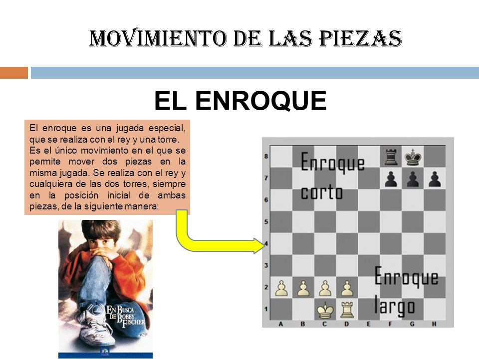 Movimiento de las piezas EL ENROQUE El enroque es una jugada especial, que se realiza con el rey y una torre. Es el único movimiento en el que se perm