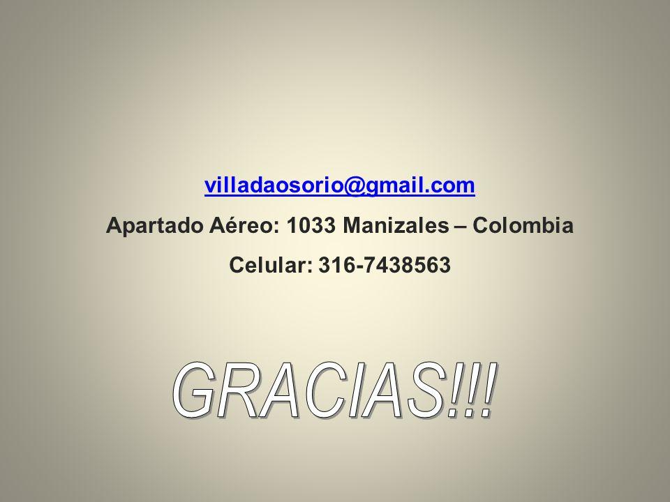 villadaosorio@gmail.com Apartado Aéreo: 1033 Manizales – Colombia Celular: 316-7438563