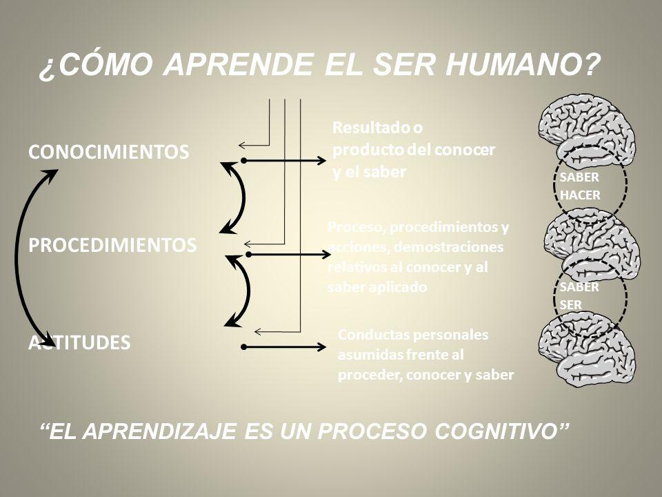 ¿CÓMO APRENDE EL SER HUMANO? CONOCIMIENTOS PROCEDIMIENTOS ACTITUDES Resultado o producto del conocer y el saber Proceso, procedimientos y acciones, de