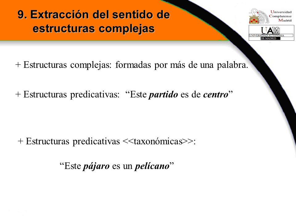 + Estructuras complejas: formadas por más de una palabra. + Estructuras predicativas: Este partido es de centro + Estructuras predicativas >: Este páj