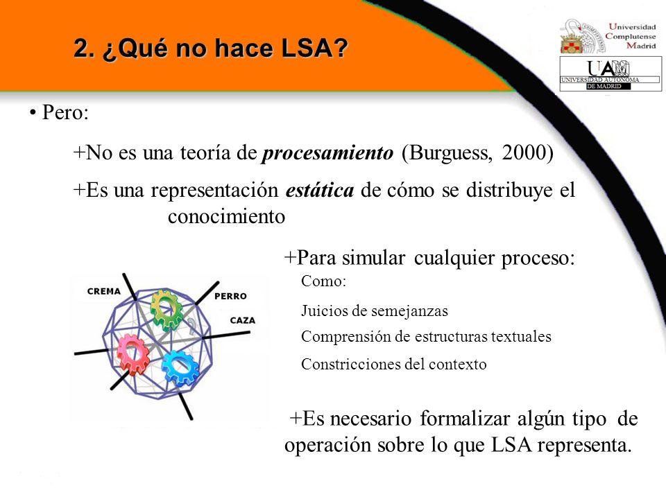 Pero: +No es una teoría de procesamiento (Burguess, 2000) +Es una representación estática de cómo se distribuye el conocimiento +Para simular cualquie
