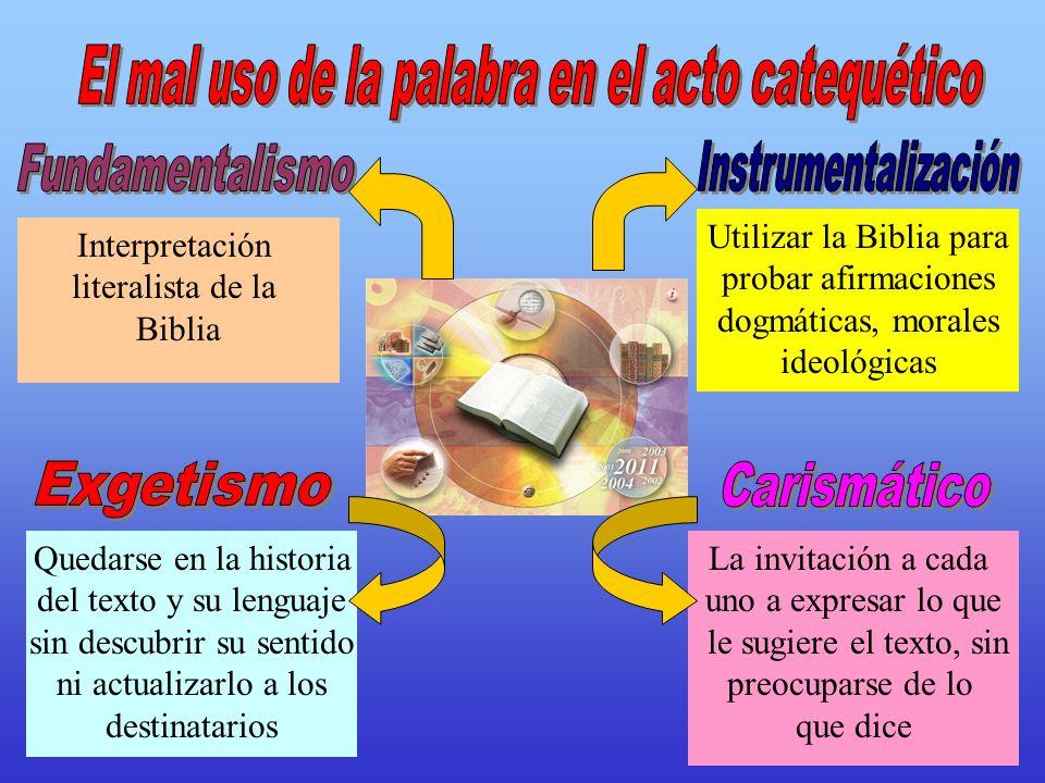 Interpretación literalista de la Biblia Quedarse en la historia del texto y su lenguaje sin descubrir su sentido ni actualizarlo a los destinatarios U