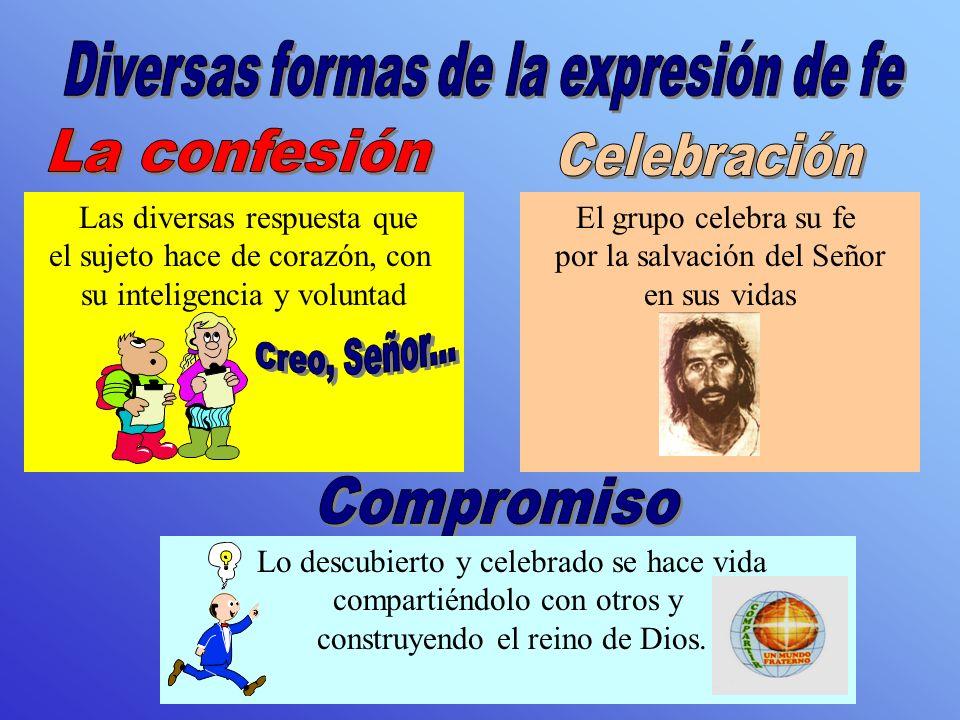 Las diversas respuesta que el sujeto hace de corazón, con su inteligencia y voluntad El grupo celebra su fe por la salvación del Señor en sus vidas Lo