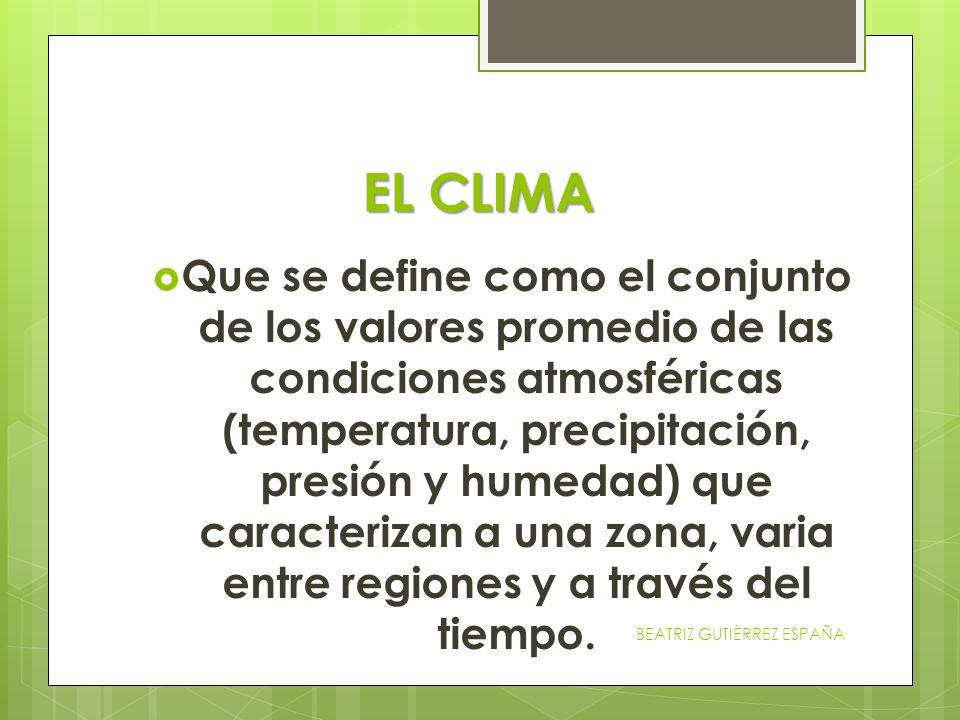 EL CLIMA Que se define como el conjunto de los valores promedio de las condiciones atmosféricas (temperatura, precipitación, presión y humedad) que ca