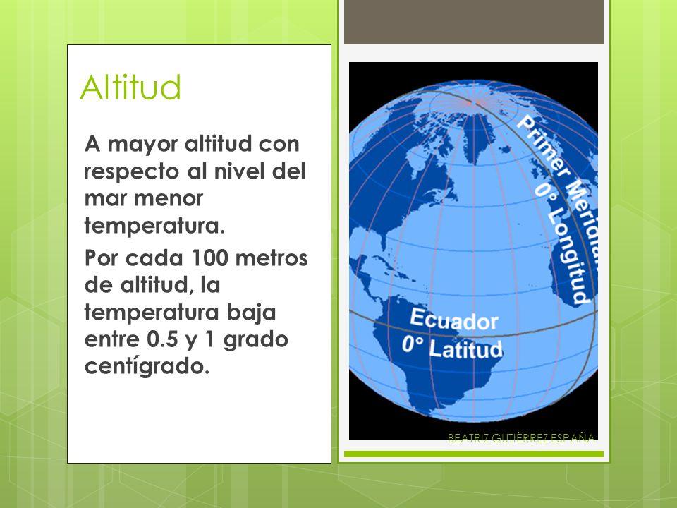 Altitud A mayor altitud con respecto al nivel del mar menor temperatura. Por cada 100 metros de altitud, la temperatura baja entre 0.5 y 1 grado centí