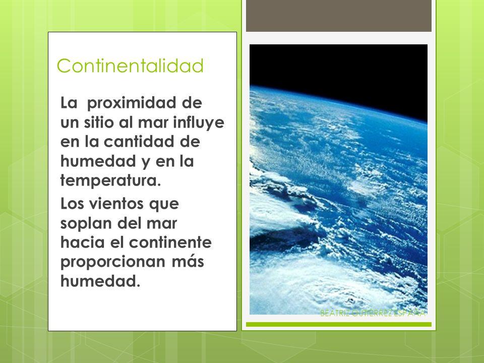 Continentalidad La proximidad de un sitio al mar influye en la cantidad de humedad y en la temperatura. Los vientos que soplan del mar hacia el contin