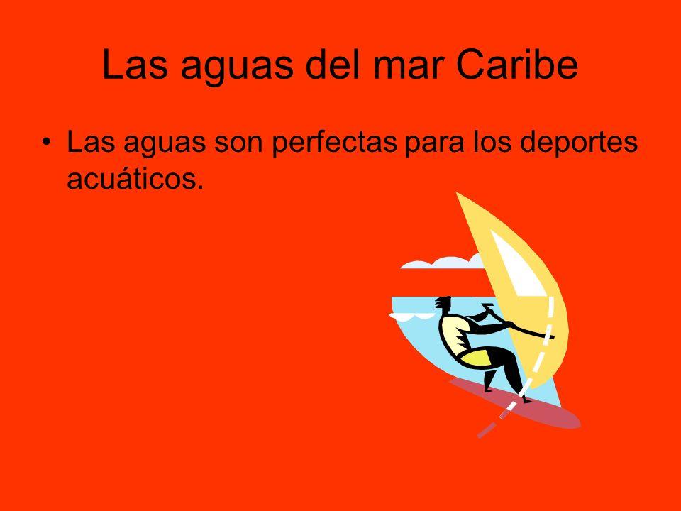 Las aguas del mar Caribe Las aguas son perfectas para los deportes acuáticos.