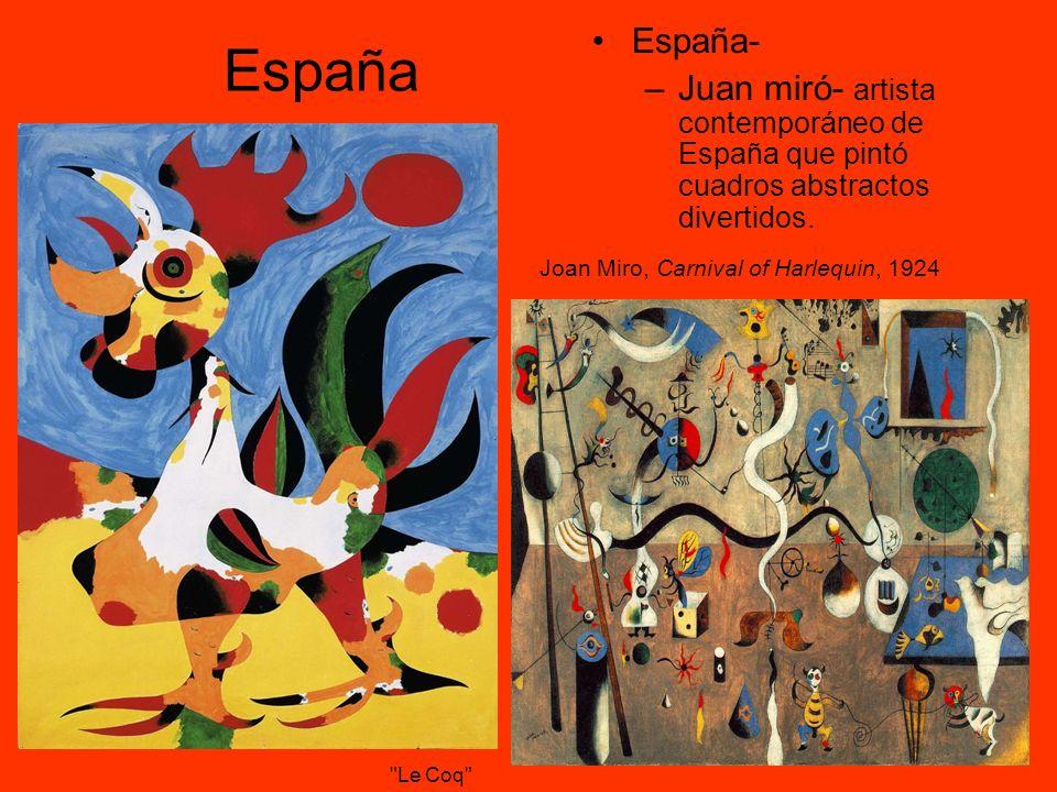 España España- –Juan miró- artista contemporáneo de España que pintó cuadros abstractos divertidos. Joan Miro, Carnival of Harlequin, 1924